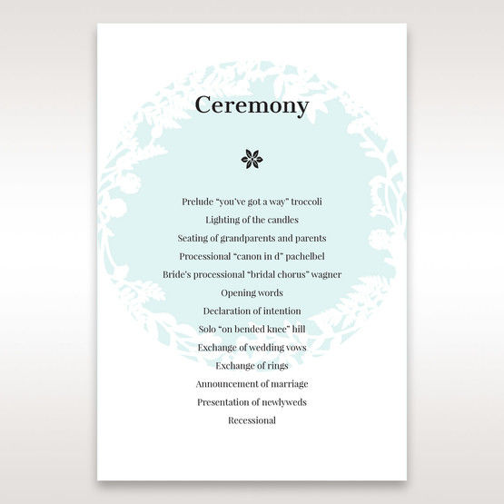 White Enchanted Forest II Laser Cut P - Order of Service - Wedding Stationery - 84