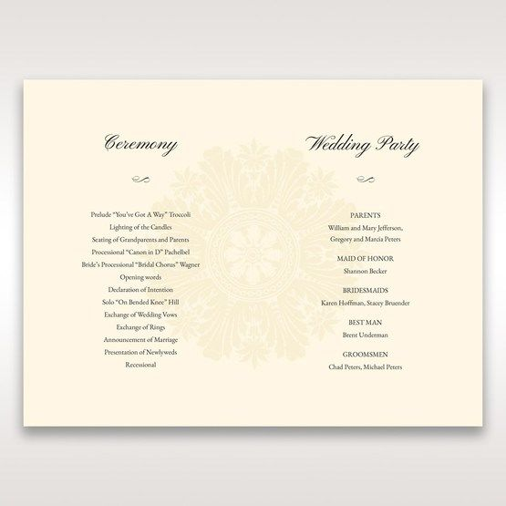 Brown Classic Couture Gold & Brown - Order of Service - Wedding Stationery - 46