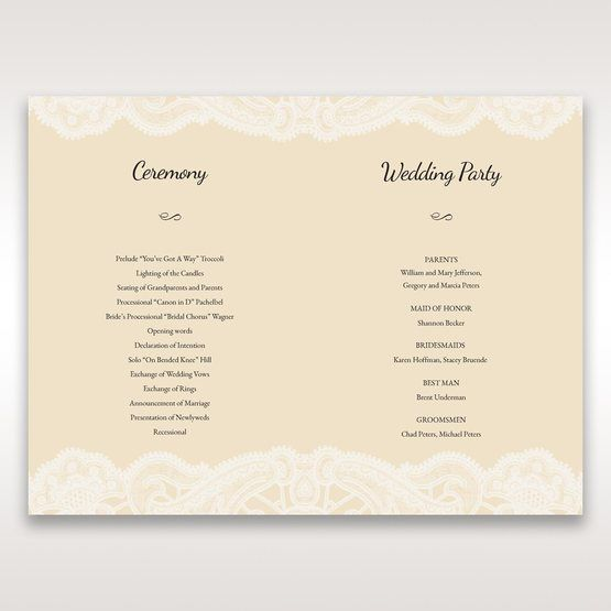 Yellow/Gold Laser Cut Floral Pocket - Order of Service - Wedding Stationery - 58