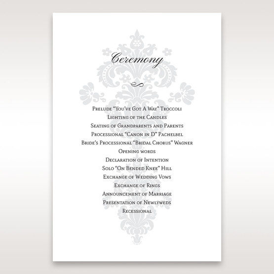 White Letter-fold Damask Pocket - Order of Service - Wedding Stationery - 98