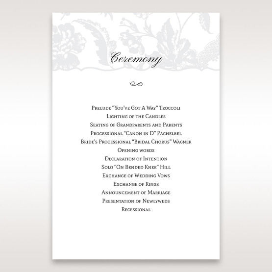 Silver/Gray Enchanted Floral Pocket III - Order of Service - Wedding Stationery - 99