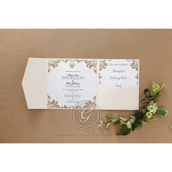 Golden Antique Pocket wedding invitations IAB11090_2