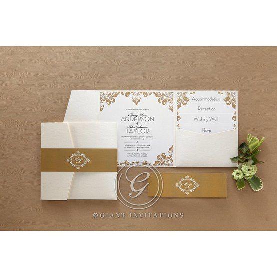 Golden Antique Pocket wedding invitations IAB11090_8