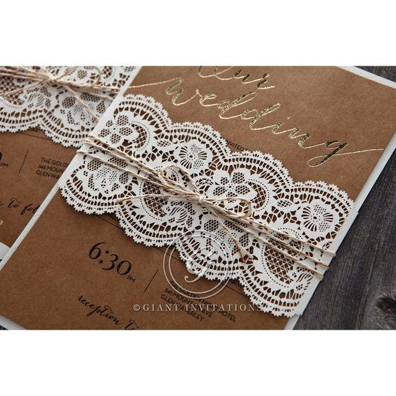 Golden Country Lace With Twine Wedding invitation in Brown PWI115084 4