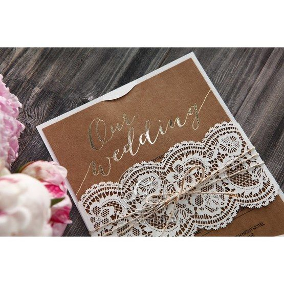 Golden Country Lace With Twine Wedding invitation in Brown PWI115084 5