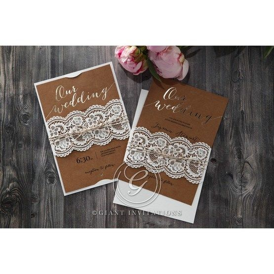 Golden Country Lace With Twine Wedding invitation in Brown PWI115084 7