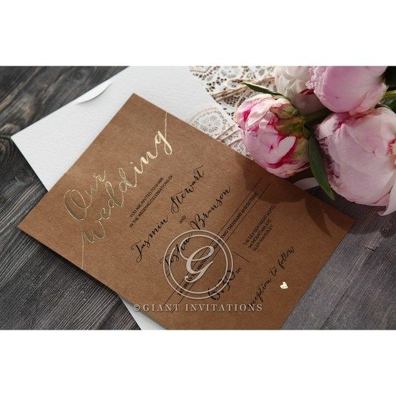 Golden Country Lace With Twine Wedding invitation in Brown PWI115084 8