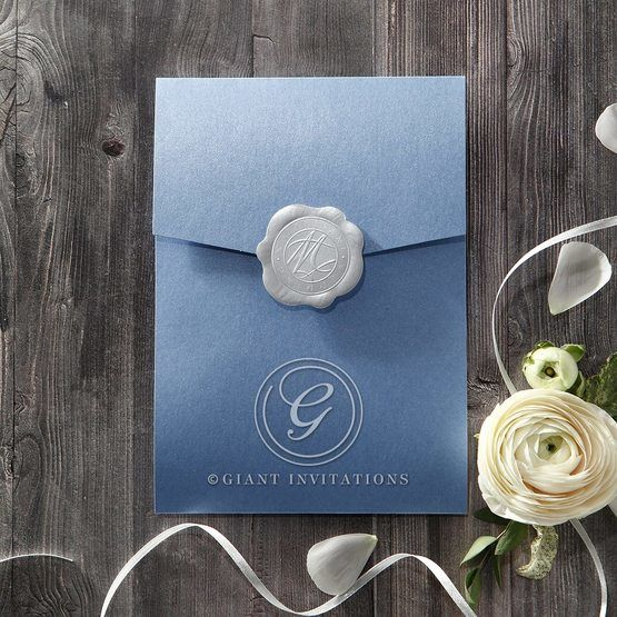 Graceful Wreath Pocket wedding invitations IAB11128