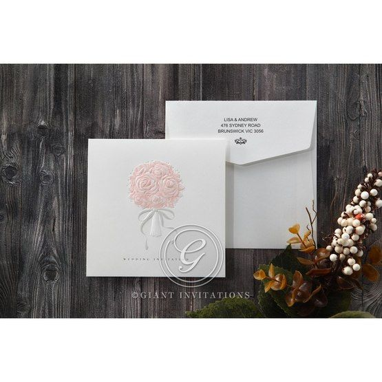 White Bouquet of Roses - Wedding invitation - 76