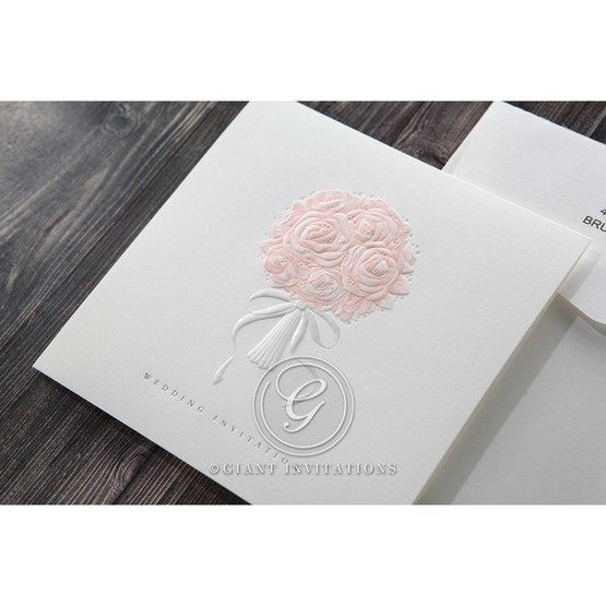 White Bouquet of Roses - Wedding invitation - 77