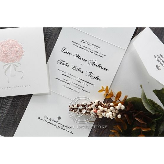 White Bouquet of Roses - Wedding invitation - 80