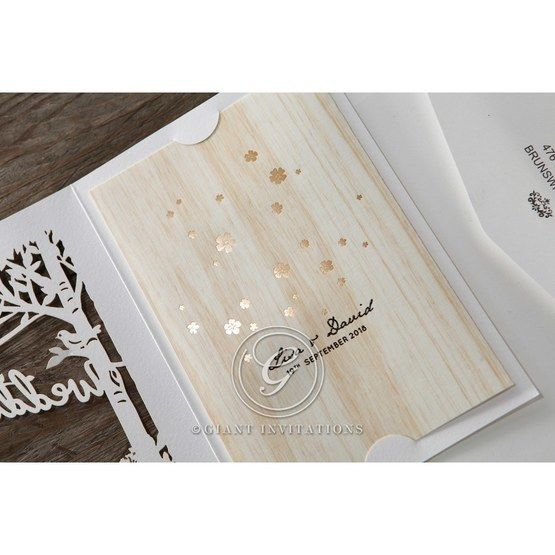 Brown Splendid Laser Cut Scenery - Wedding invitation - 30
