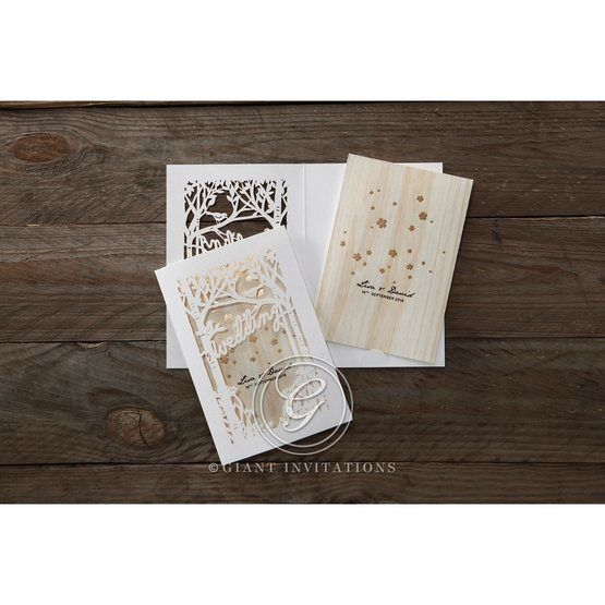Brown Splendid Laser Cut Scenery - Wedding invitation - 32