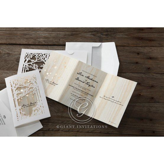 Brown Splendid Laser Cut Scenery - Wedding invitation - 33