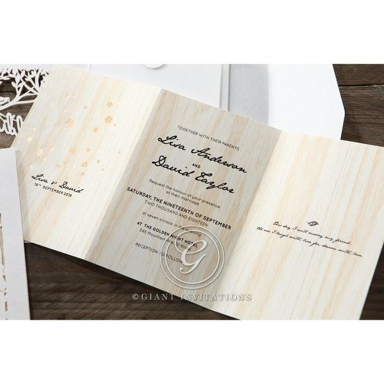 Brown Splendid Laser Cut Scenery - Wedding invitation - 35