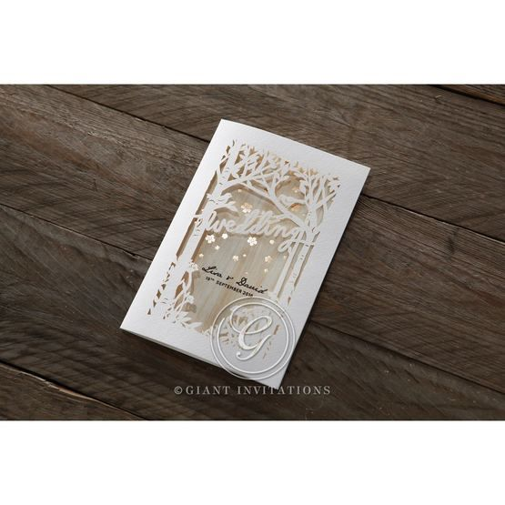 Brown Splendid Laser Cut Scenery - Wedding invitation - 39