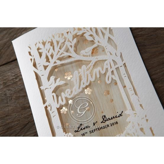 Brown Splendid Laser Cut Scenery - Wedding invitation - 40