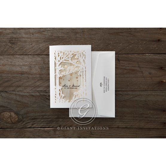 Brown Splendid Laser Cut Scenery - Wedding invitation - 41