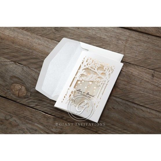 Brown Splendid Laser Cut Scenery - Wedding invitation - 42
