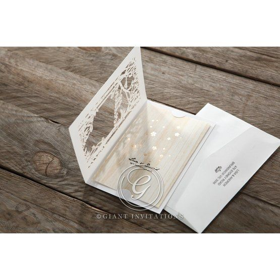 Brown Splendid Laser Cut Scenery - Wedding invitation - 43