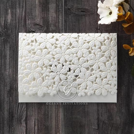 White Floral Cluster - Wedding invitation - 84