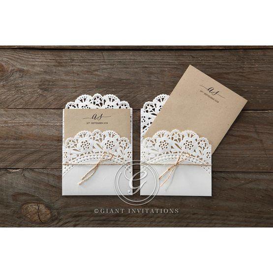 Brown Laser Cut Doily Delight - Wedding invitation - 24