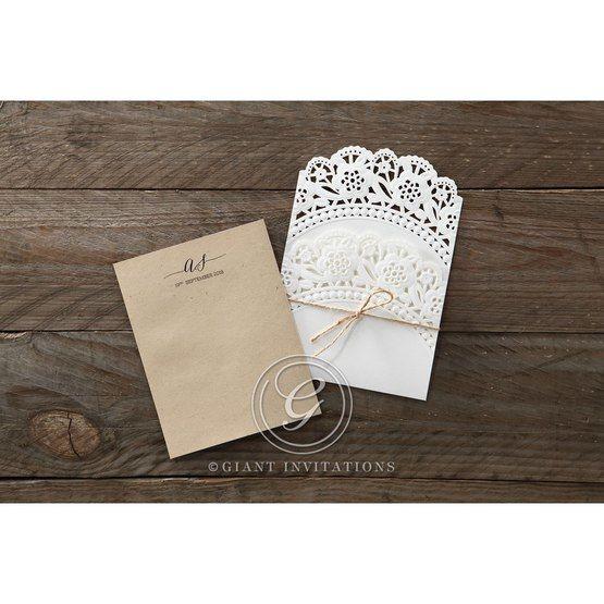Brown Laser Cut Doily Delight - Wedding invitation - 25