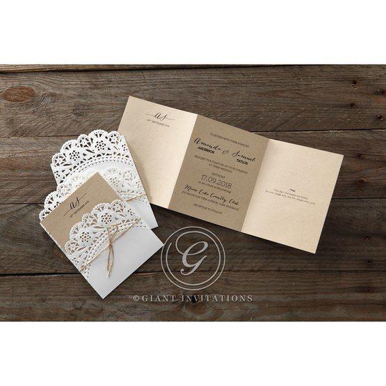Brown Laser Cut Doily Delight - Wedding invitation - 26