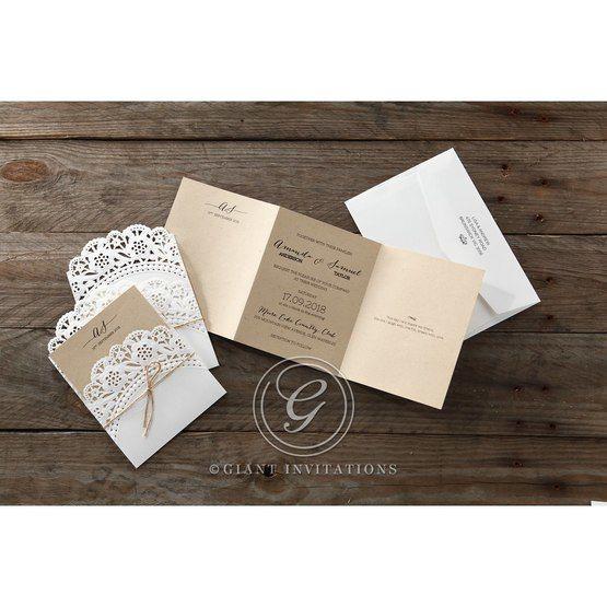 Brown Laser Cut Doily Delight - Wedding invitation - 27