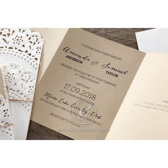 Brown Laser Cut Doily Delight - Wedding invitation - 28
