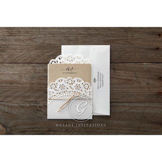 Brown Laser Cut Doily Delight - Wedding invitation - 31