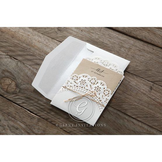 Brown Laser Cut Doily Delight - Wedding invitation - 32