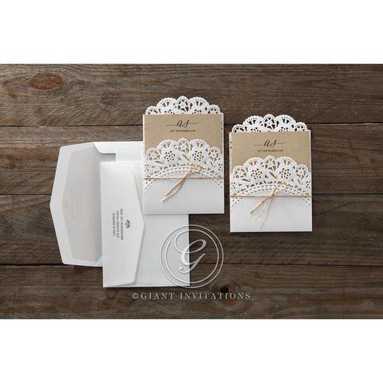 Brown Laser Cut Doily Delight - Wedding invitation - 34
