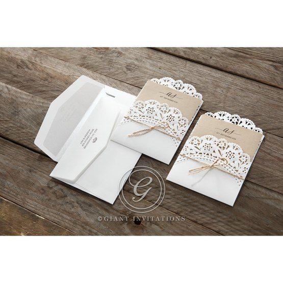 Brown Laser Cut Doily Delight - Wedding invitation - 35