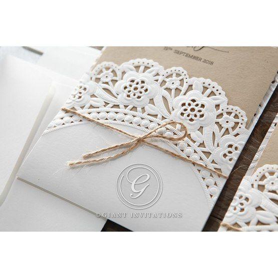 Brown Laser Cut Doily Delight - Wedding invitation - 37