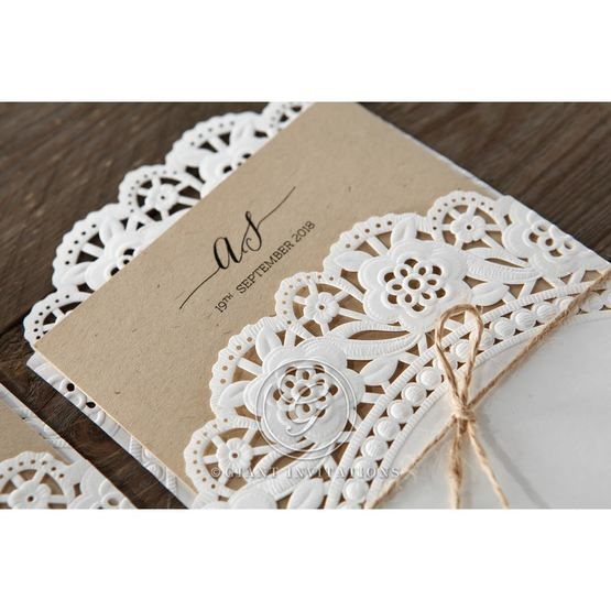 Brown Laser Cut Doily Delight - Wedding invitation - 38