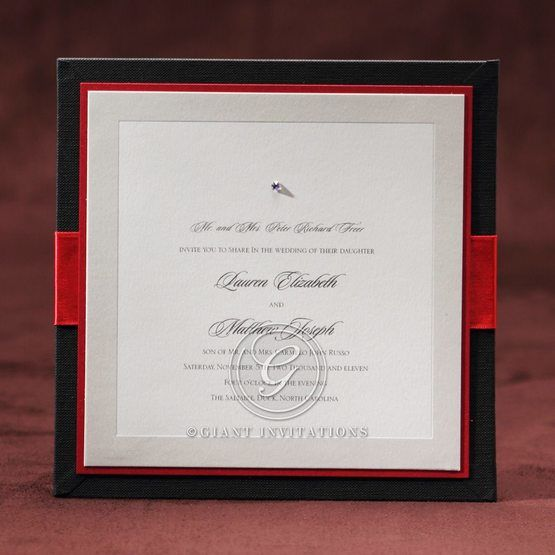 Hard cover type wedding invite with black and red frame color and ivory insert, thermography printed, layered, jewel embellished