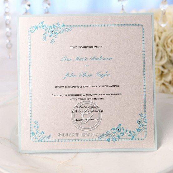 Blue bordered classic floral invite featuring digital print, white insert and jewels