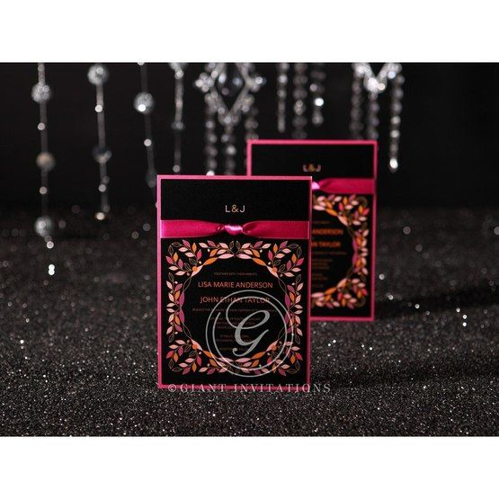 Black inner card with digital printing layered with pink card and accented with a knotted satin sash
