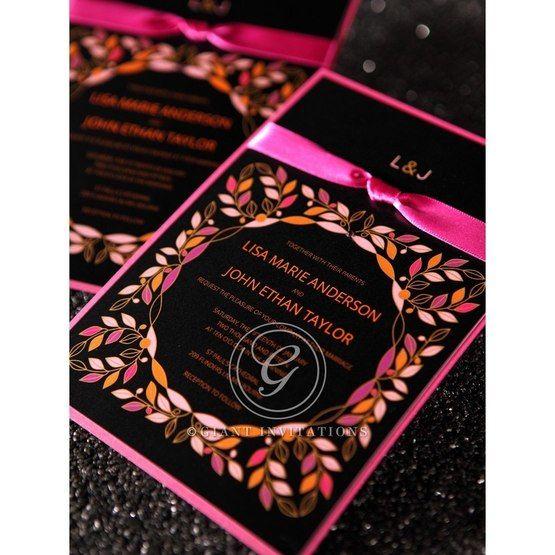 Black Wild Flower Wreath - Wedding invitation - 51