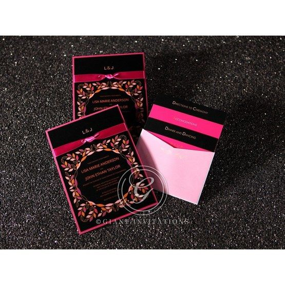 Black and pink wedding invitation, outdoor themed, with matching stationery in vellum pocket