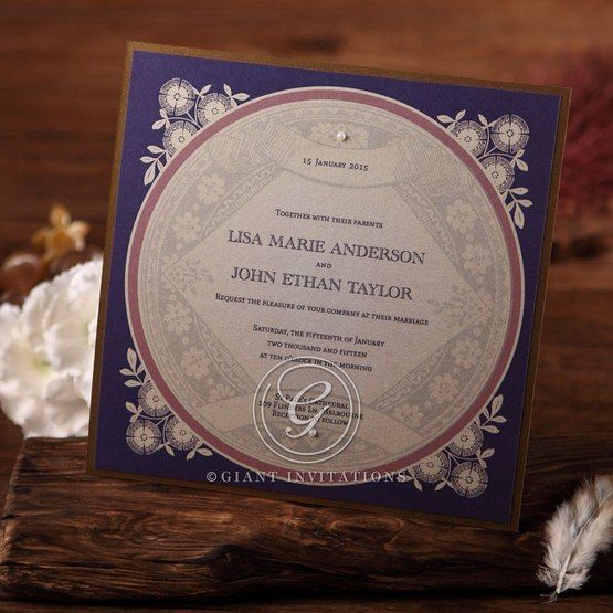 Blue square vintage style invitation embellished with pearls and accented with brown board