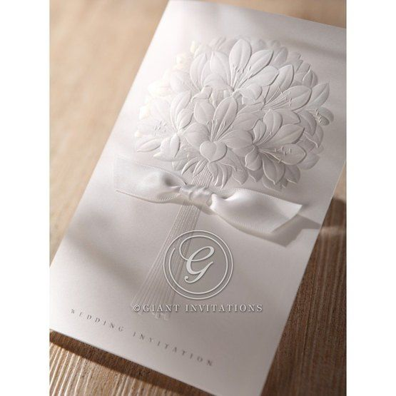 Thermography printed white ribboned embossed floral design