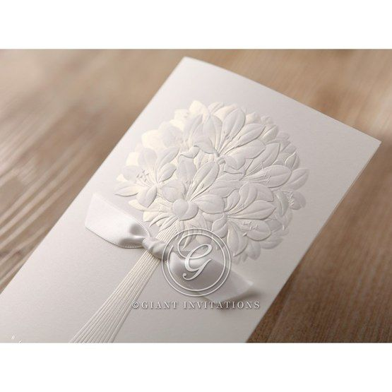 Embossed ribboned traditional wedding flower design wedding invite