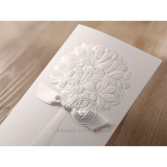 Embossed ribboned traditional wedding flower design wedding invite