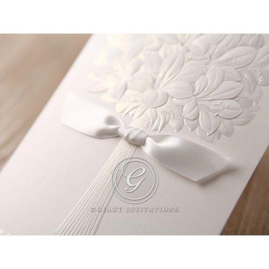 White ribboned embossed flower design wedding card