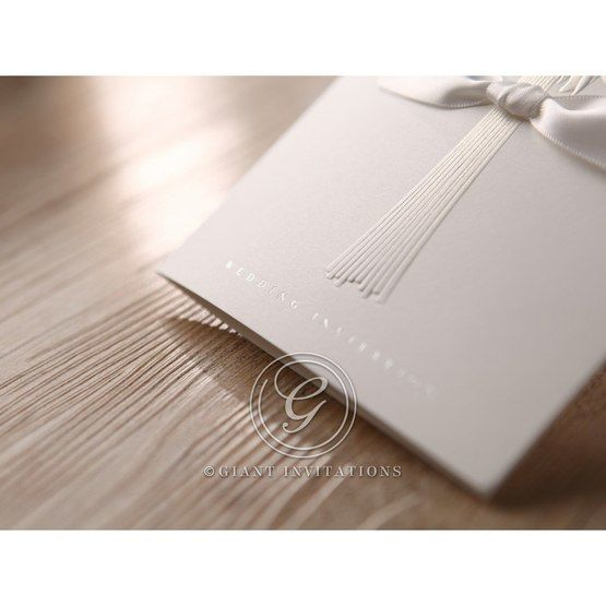 White flower budle design, embossed, wedding invite ,cropped