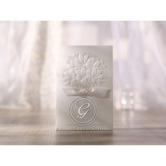 Traditional folded white Emobossed ribboned flower design wedding invitation
