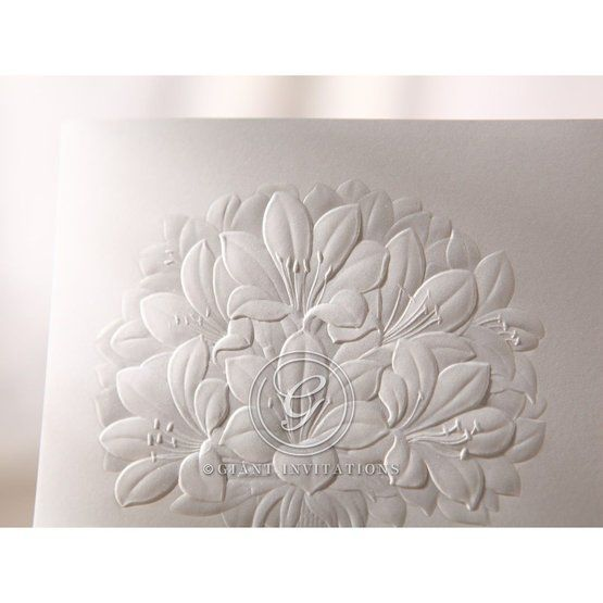 Embossed white floral design detail