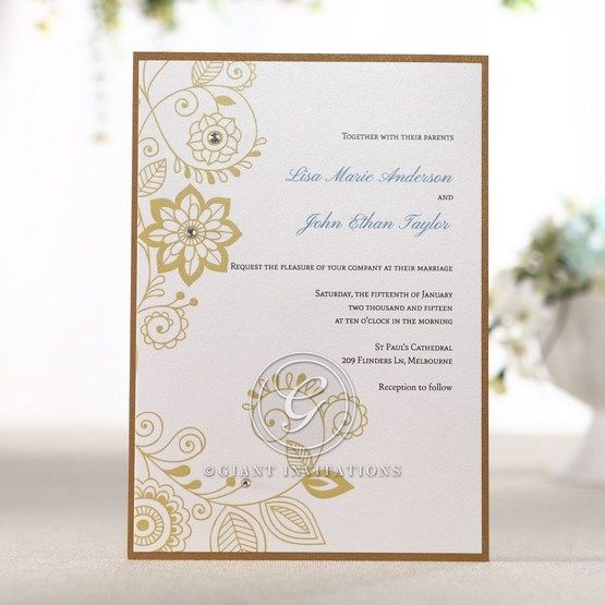 Crystal embellished digital printed floral invitation with swirls and gold patterns